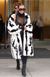 underwear,top,black,see through,mesh top,turtleneck,kim kardashian,fashion week 2016,boots,coat,bra,bralette,NY Fashion Week 2016
