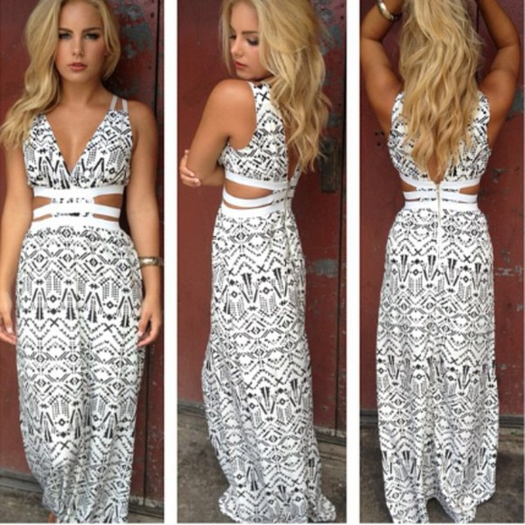 long dress ethnic black and white