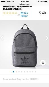 bag,jersey classic,adidas backpack,adidas,backpack,grey
