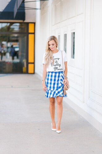 t-shirt skirt gingham skirt mini skirt ruffle skirt pumps blogger blogger style slogan t-shirts gingham crossbody bag