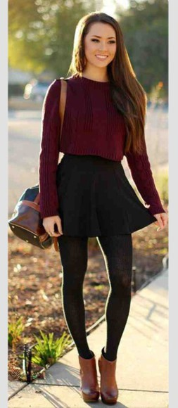 sweater black burgundy skirt style cute outfits tights bag