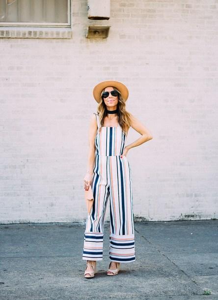 thefashionhour blogger jumpsuit hat shoes clutch sandals spring outfits