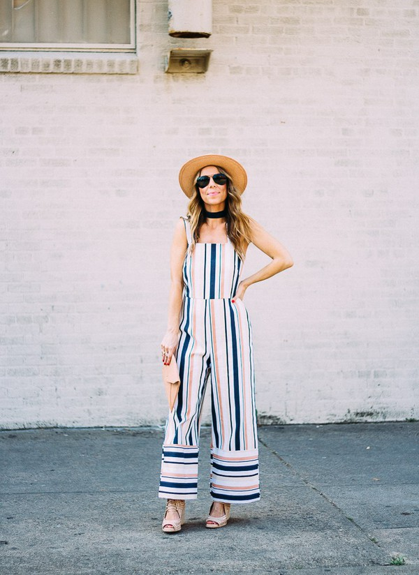 thefashionhour blogger jumpsuit hat shoes clutch sandals spring outfits