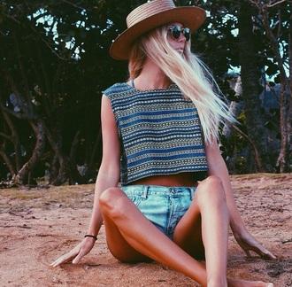 top blue shirt green blouse yellow top beach shirt summer top hat sunglasses denim shorts high waisted shorts crop tops beach blonde hair style