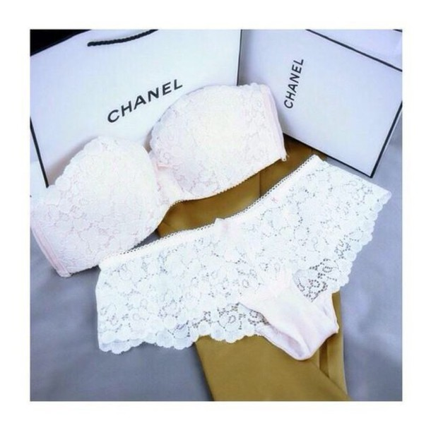 Top Underwear: bandeau bikini, bandeau, white bikini, white swimwear  HZ24