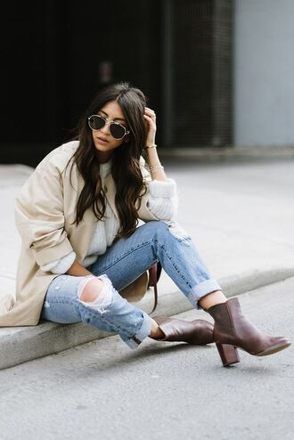 shoes tumblr coat nude coat sweat the style sweater white sweater jeans denim blue jeans sunglasses ankle boots brown boots aviator sunglasses fall outfits