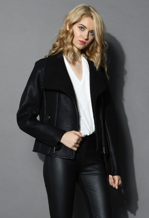 jacket chicwish shearling jacket faux leather