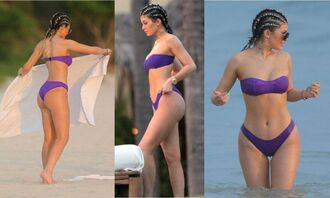 swimwear kylie jenner summer bikini bikini top bikini bottoms purple swimwear two piece jewels jewelry choker necklace necklace kylie jenner jewelry keeping up with the kardashians celebrity style celebrity celebstyle for less