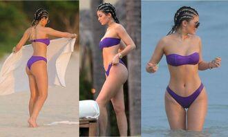 swimwear kylie jenner summer bikini bikini top bikini bottoms purple