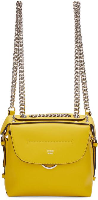mini back backpack yellow bag