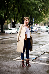 shoes,high heels,low boots,garance dore,brown shoes,coat,trench coat