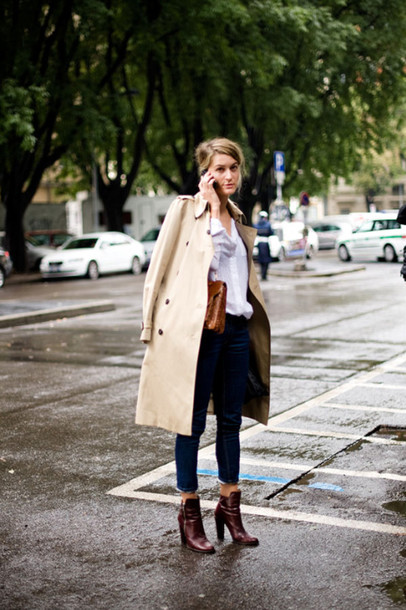 shoes high heels low boots garance dore brown shoes coat trench coat