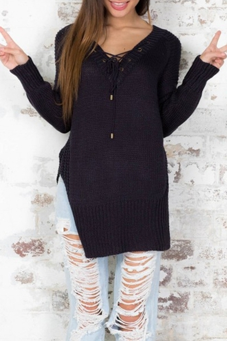 sweater black cool warm long sleeves black v neck long sleeve jumper lace up trendy winter sweater jumper pullover
