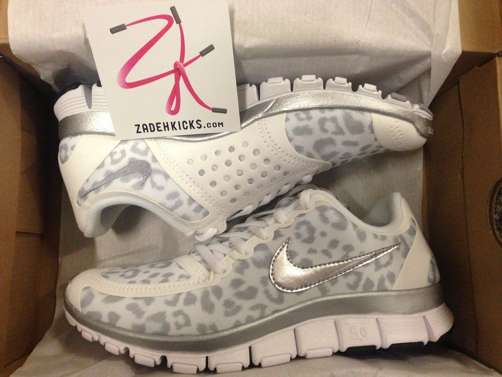 49d079717e13a Nike Womens Free 5.0 V4 White Leopard 511281 100 6-8 wmn flyknit plus run