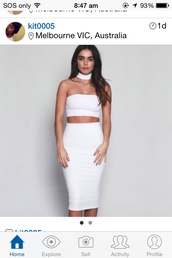 dress,choker necklace,white,white dress,bodycon,bodycon dress,two piece dress set,party dress,sexy party dresses,sexy,sexy dress,party outfits,summer dress,summer outfits,classy dress,elegant dress,cocktail dress,girly,girly dress,cute,cute dress,date outfit,birthday,birthday dress,summer holidays,romantic summer dress,romantic dress,romantic,clubwear,club dress,midi dress,graduation dress,edgy,dope,absolutemarket,jewels