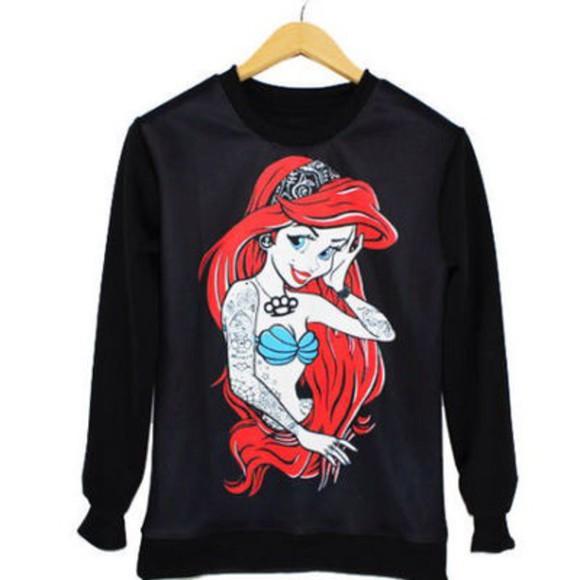 ariel punk disney ariel the little mermaid goth rad hipster pastel goth gyaru ulzzang harajuku japan japanese free shipping kawaii jumper sweater disney sweater