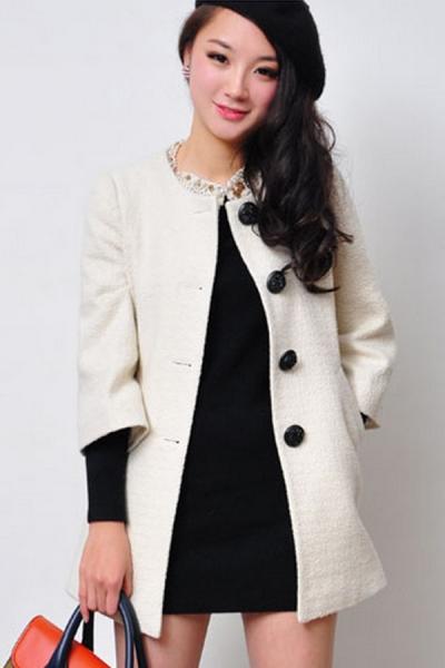 3/4 Sleeve Whole Color Coat - OASAP.com