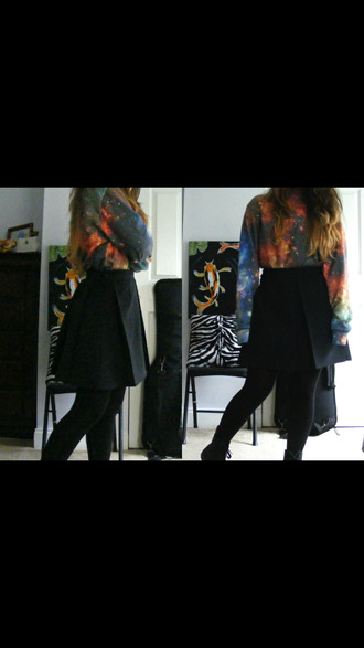 skirt galaxy print shirt