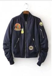 jacket,bomber jacket,blue,patchwork