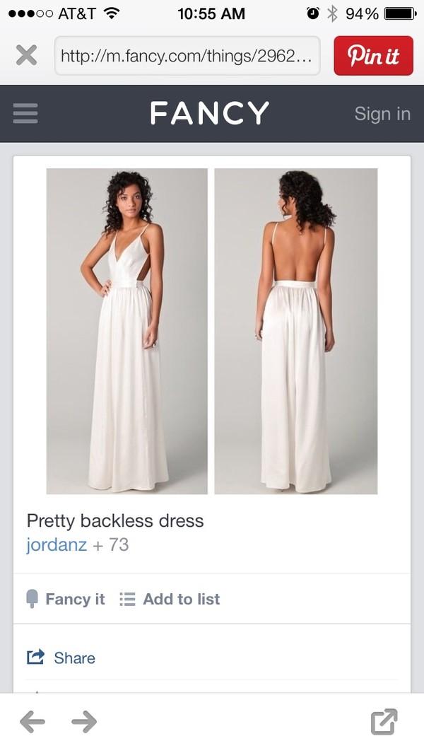 dress white dress backless dress v neck dress plunge v neck