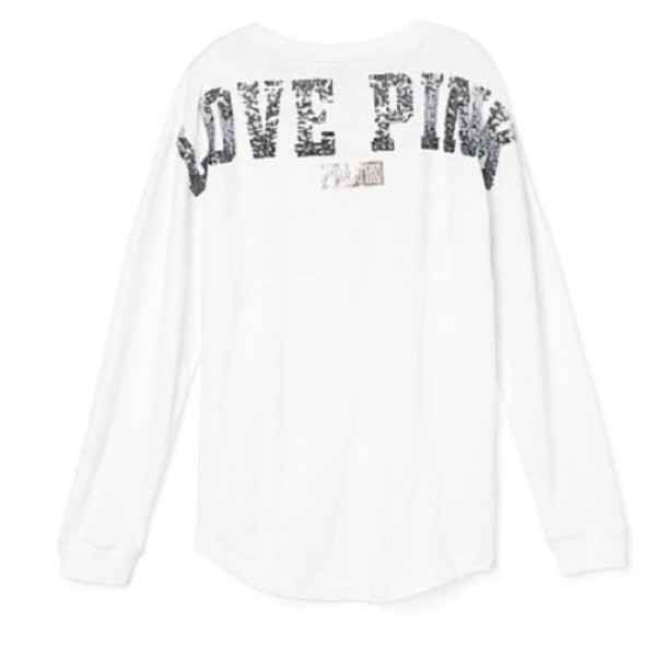 top white silver bling sequins pink by victorias secret crewneck varsity girly comfy