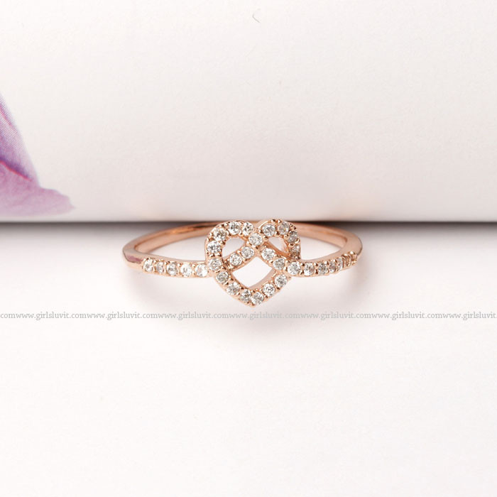 Knot heart ring with crystals, 3 colors;