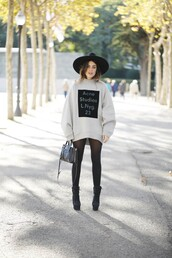 dulceida,blogger,tights,bag,oversized sweater,acne studios,turtleneck,felt hat,black boots,sports sweater,quote on it,graphic sweatshirt,opaque tights