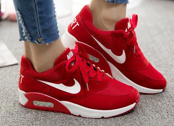044e49f31eaa shoes red cute girly white nike teenagers nike air max 90 red sneakers