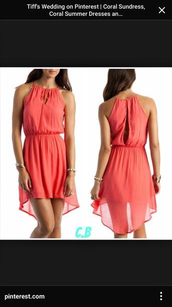 75b7d887698f8 dress, coral color, summer dress, gauze fabric - Wheretoget