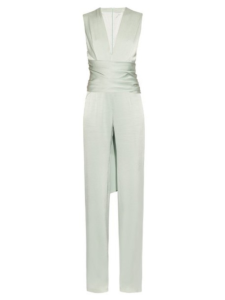 0de39a53ae1 GALVAN Sleeveless satin-crepe jumpsuit in green - Wheretoget