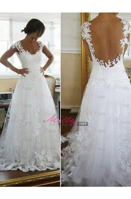 Buy lace appliques sleeveless 2015 wedding dress at millybridal.net