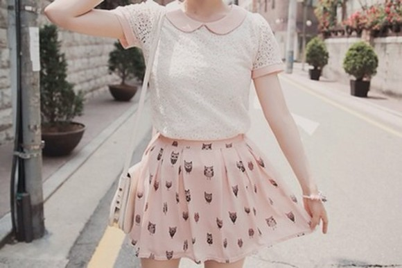 blouse peter pan collar skirt pink collar lace