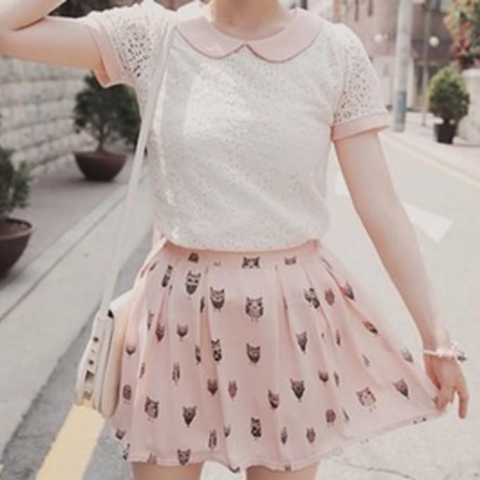 Collar Pink Skirt Dress