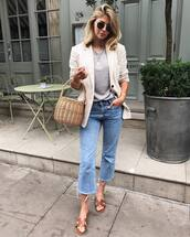 bag,tumblr,basket bag,blazer,white bag,t-shirt,grey t-shirt,denim,jeans,cropped bootcut jeans,cropped jeans,slide shoes,shoes,jacket