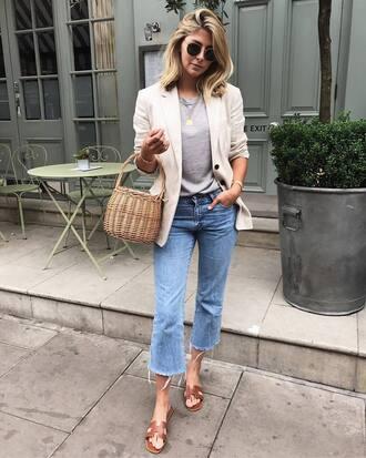 bag tumblr basket bag blazer white bag t-shirt grey t-shirt denim jeans cropped bootcut jeans cropped jeans slide shoes shoes jacket