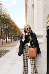 bag,blogger,blogger style,leather bag,cape,checked trousers,pants,white shirt,tumblr bag,peter pan collar