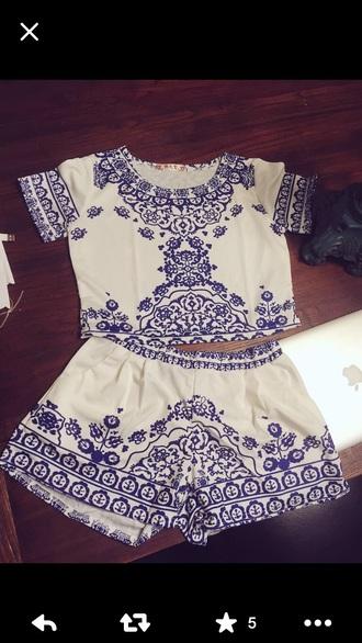 romper blue bohemian romper bohemian dress two-piece