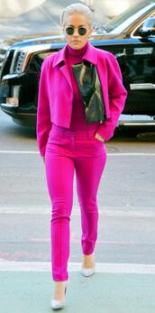 pants,pink,jacket,rita ora,hot pink,pink jacket,coat