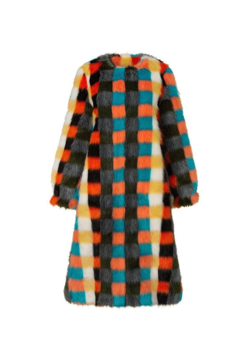 Women's Faux Fur Coat - Estelle in Multi Check Jacquard - Shrimps