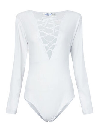 top white fashion style trendy criss cross long sleeves newchic