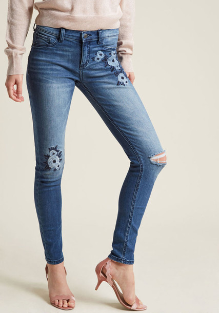 SP-P9642 jeans skinny jeans feminine perfect floral stars