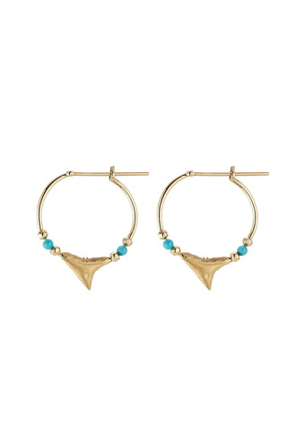 shark earrings gold earrings gold yellow turquoise jewels