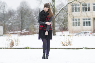 andy sparkles blogger jacket tulle skirt flannel dress tights scarf shoes jewels