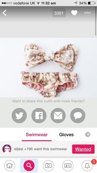 swimwear floral swimwear bow top