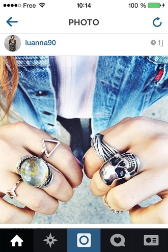 jewels le happy ring grunge crystal quartz gemstone ring statement ring silver silver ring triangle luanna perez instagram