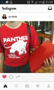 t-shirt,black panther,panther,red,red tee,red t-shirt,red panther,power to the people,black panthers,black lives matter,black lives matter shirt