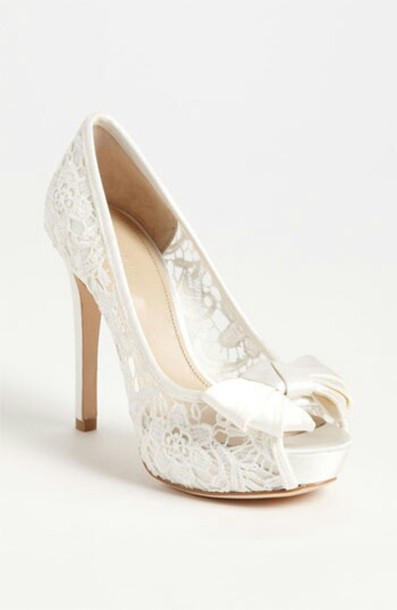 Shoes: white lace white high heels bow - Wheretoget