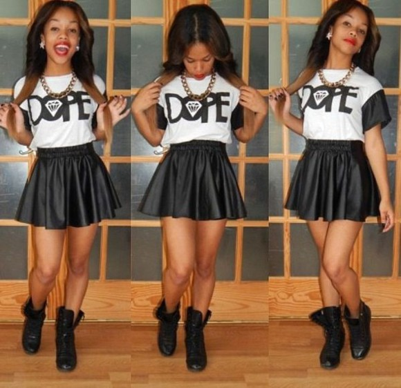 skirt black shirt black skirt white dope diamond black and white combat boots gold chain dope outfit red lipstick black ankle boots