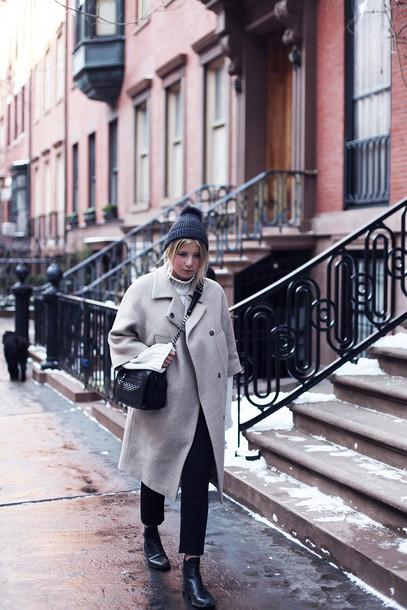 into the fold blogger grey coat pom pom beanie grey beanie