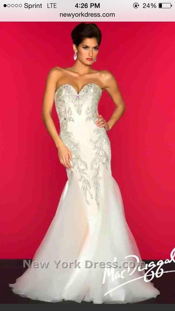Dress: ivory, mermaid, mac duggal, lace, designer dress, mermaid ...